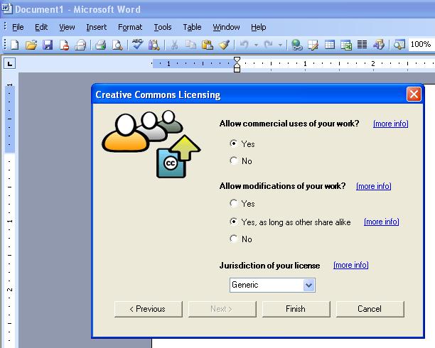Microsoft Office Addin - Creative Commons